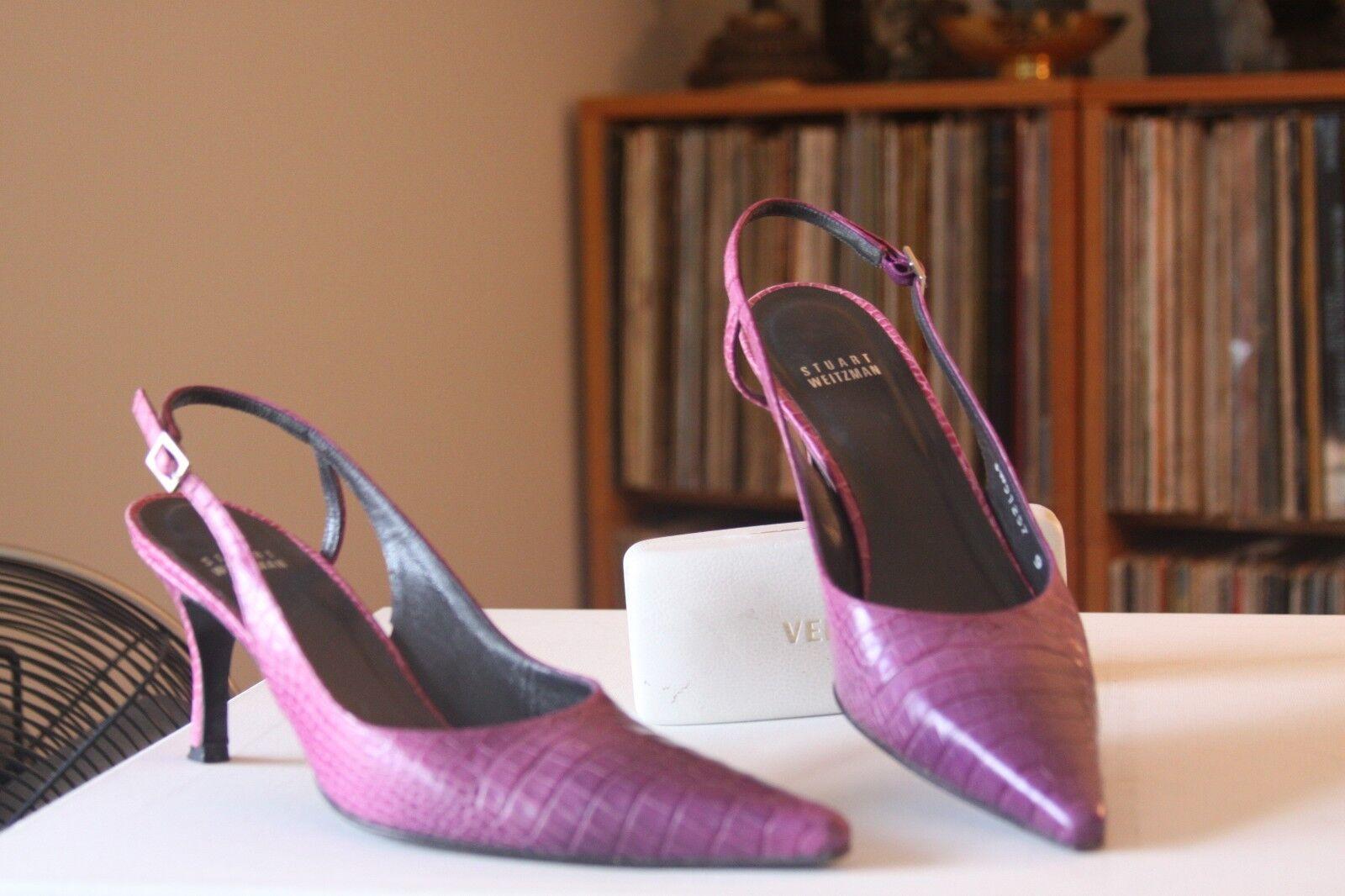Stuart Heel Weitzman Magenta Reptile Print Leather 3 Inch Heel Stuart Slingbacks Size 9 N 0e6cad