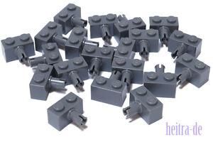 LEGO Technik - 20 x Stein 1x2 mit Pin dunkelgrau / Brick with Pin / 2458 NEUWARE