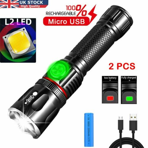 2X Super Bright T6 Led Torch Police Flashlight Camp Light Lamp Zoomable Powerful