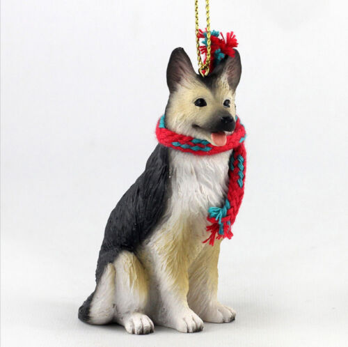 German Shepherd Christmas Scarf Ornament Tan//Black
