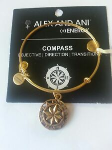 66cadc92028a1 Details about Alex And Ani Compass Charm Bangle Bracelet NWT CARD BOX R  Gold GIFT Mom Sister