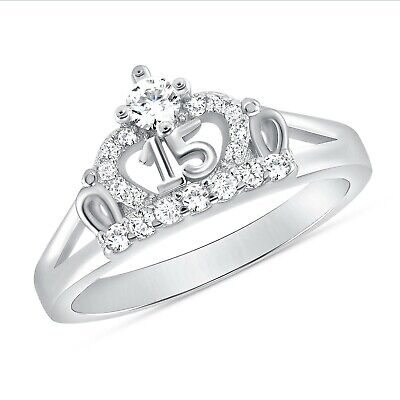 FB Jewels 925 Sterling Silver CZ Cubic Zirconia Sweet Fifteen 15 Year Birthday Quincea/ñera Heart Fashion Anniversary Ring