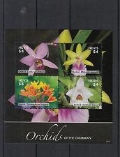 Nevis 2014 MNH Orchids of Caribbean 4v M/S II Flowers Flora Miltonia Cattleya