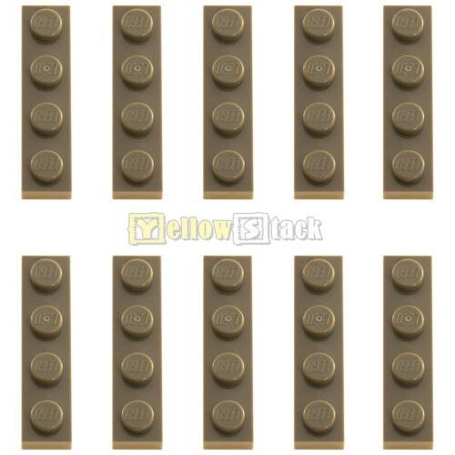 10x Lego ® 3710 1x4 PLATE DARK BEIGE DARK TAN SAND COLORS NEW