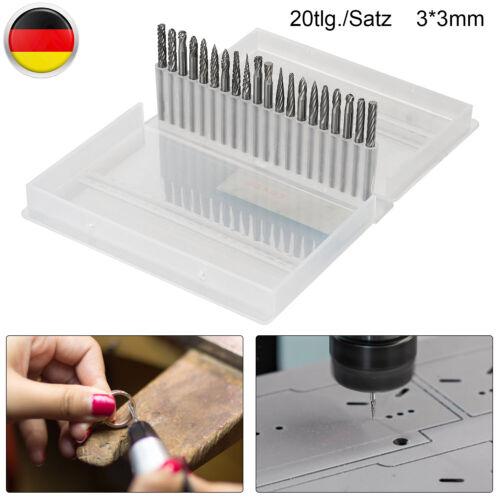 20 Stück Set 3mm Frässtift Wolframcarabid Hartmetallfräser Schaftfräser Fräser