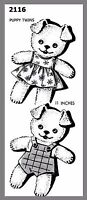 Cute Vintage Stuffed Puppy Twins W/ Clothes Fabric Material Sew Pattern 2116