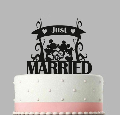 Wedding Acrylic Cake Decoration Wedding Just Married Mickey Minnie Topper.165