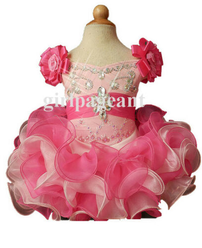 pink Infant//toddler//baby stonebeading Pageant//formal  Dress 026-3 with hairbow