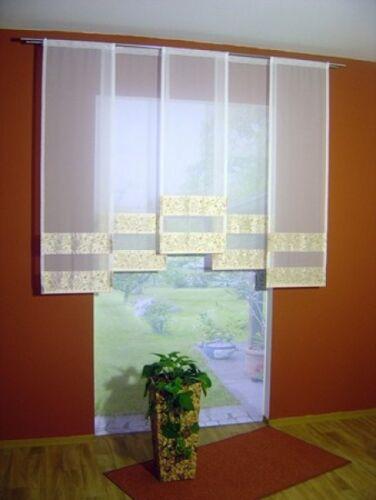 Schiebevorhang mit gemusterter Dekoblende inkl Paneelwagen und Beschwerung