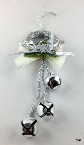 Kerzenring Hängedeko Weihnachten Silber mit Glöckchen Dekoration 16 cm hängend