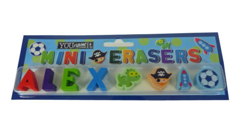 Boys Pack Of Mini Erasers Rubbers Names A-W Party Bag Gift Stocking Filler
