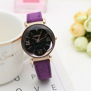 Fashion-Women-Leather-Band-Stainless-Steel-Quartz-Analog-Wrist-Watch-Bling-Dial