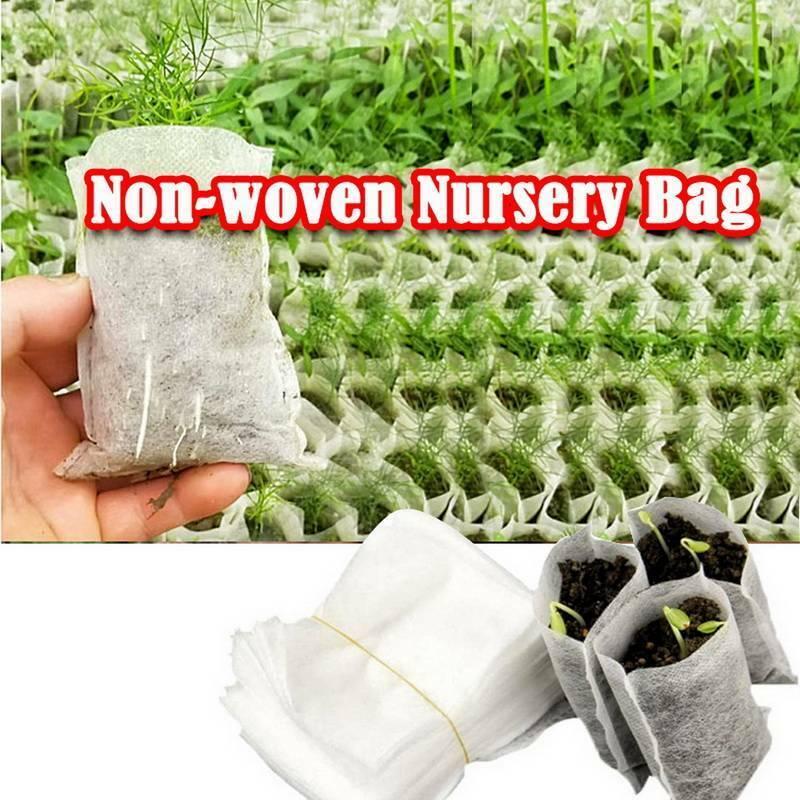 100x Plant Flower Grow Fibre Pots Nursery Bag Biodegradable Non-Woven Pot