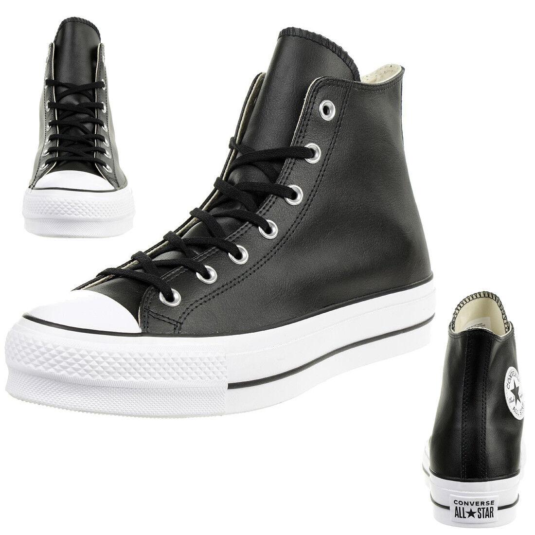 Converse C Taylor All Star LIFT CLEAN HI Chuck scarpe da ginnastica Leder nero 561675C