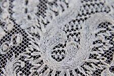 Vtg Antique White Cotton Tambour Lace Wedding Bridal Handkerchief LG 1800's
