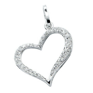 14k white gold natural pave diamond open floating heart pendant la foto se est cargando 14k oro blanco diamante pavimenta natural flotante abierto aloadofball Choice Image
