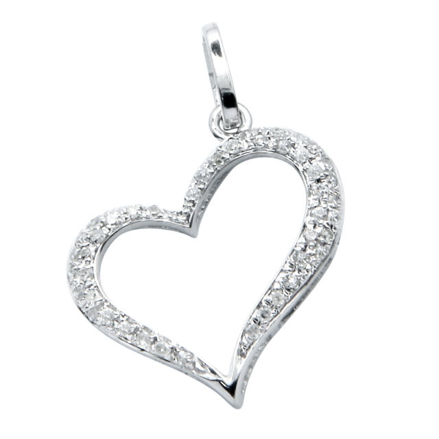 8ca10d72e04 14K WHITE GOLD NATURAL PAVE DIAMOND OPEN FLOATING HEART PENDANT CHARM  NECKLACE