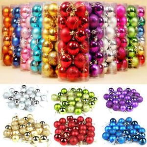 24pcs-Glitter-Christmas-Baubles-Xmas-Tree-Ornament-Hanging-Ball-Decor-3cm-Diy-UK