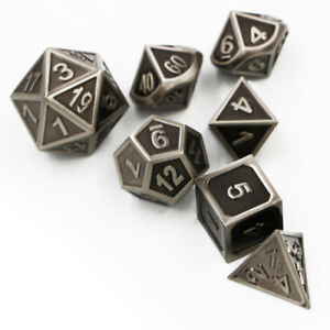 Embossed-Steel-Set-of-7-Heavy-Metal-Polyhedral-Dice-Dungeons-amp-Dragons-w-Bag