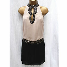 KAREN MILLEN DP311 Black Cream Silk Beaded 20's Deco Flapper Gatsby Dress UK 12