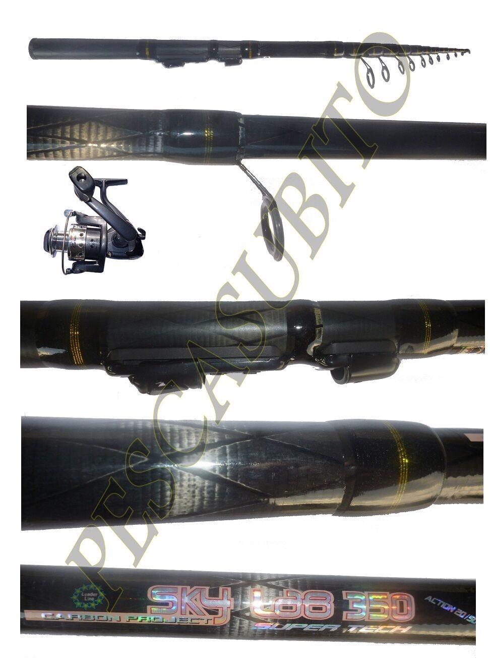 Kit canna cielolab 3,50m  mulinello pesca bolognese fondo mare lago fiume trossoa