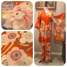 Vtg Psychedelic Silk Kimono Furisode Embroidered Robe Floral Abstract Brocade Op