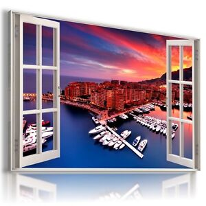 3D-MONACO-MARINA-Window-View-Canvas-Wall-Art-Picture-Large-SIZE-30X20-034-W262