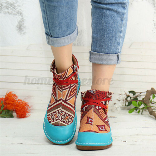 SOCOFY Women Elastic Band Soft Ankle Boots Cloth Ethnic Slip On Casual Shoes