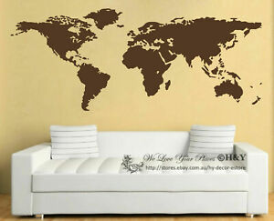 World-Map-Wall-Art-Vinyl-Decal-Stickers-Home-Decor-Removable-Mural-Free-Postage