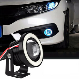 2x-Azul-Hielo-COB-LED-Luz-de-Niebla-Proyector-Halo-Anillo-ojos-de-angel-Coche-DRL-Bombillas