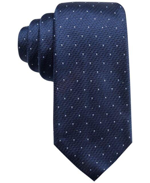 $155 Tasso Elba Mens Red Blue Woven Polka Dot Silk Classic Skinny Neck Tie 58x3