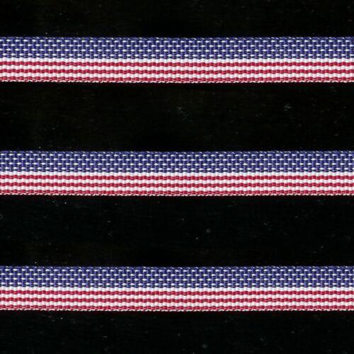 "5 yds 3//8/"" PATRIOTIC STARS STRIPES RED WHITE BLUE AMERICAN FLAG GROSGRAIN RIBBON"