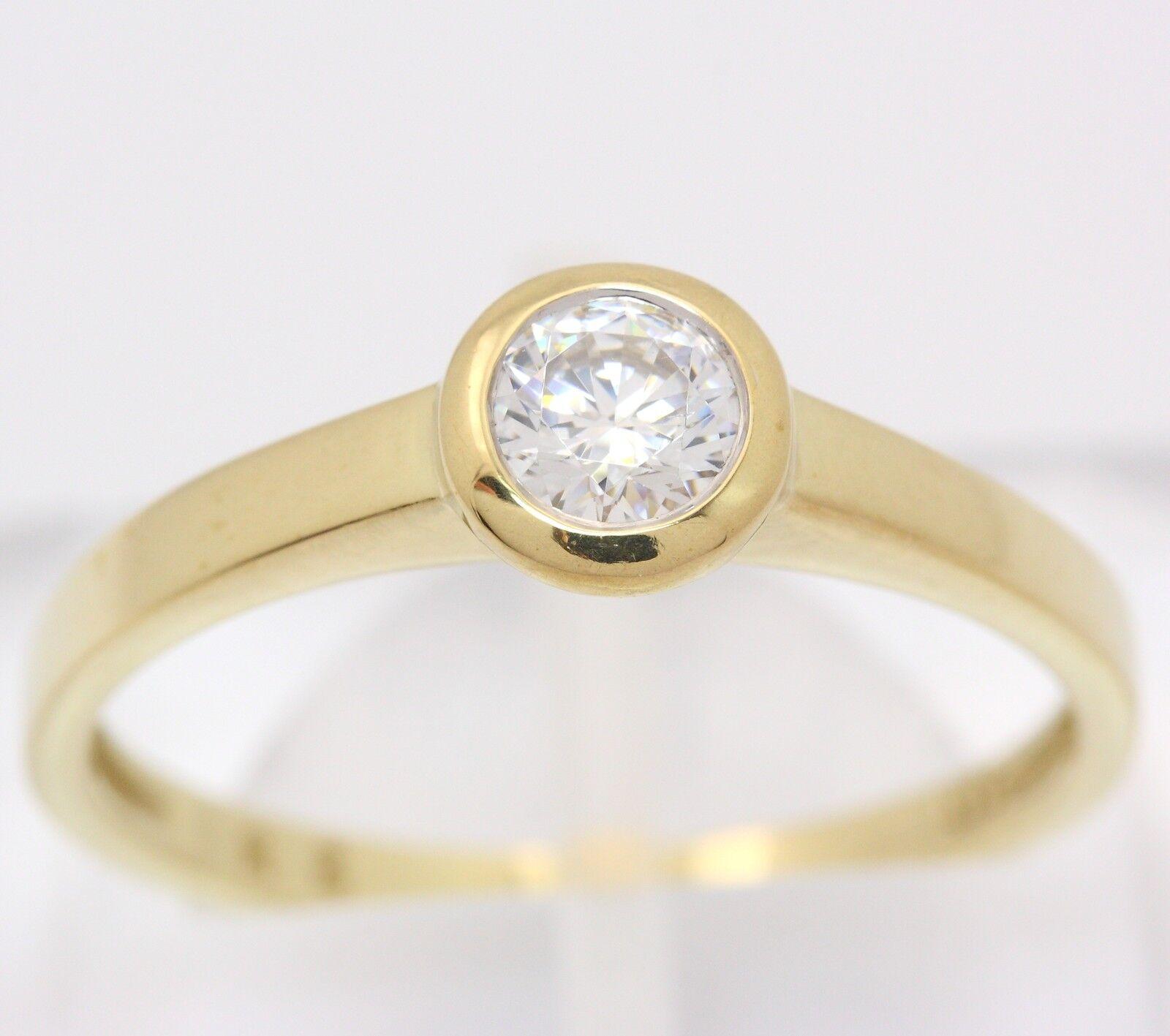 ♦♦ anello in da da da 333 8kt giallo oro con zirconi zirkoniaring ororing solitario Anello ♦♦ 0260cb