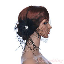 Black Wedding Floral Fascinator Netting Prom blusher Birdcage Veil Rhinestone