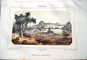 1830-LITOGRAFIA-DIPINTA-CON-VEDUTA-DEI-CAMPI-ELISI-CUMA-NEL-REGNO-DI-NAPOLI