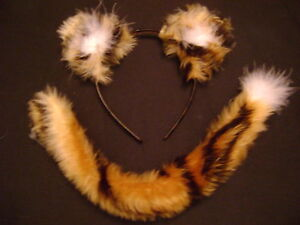 Childrens Adults Tiger Cub Fancy Dress Ears And Tail Animal Costume