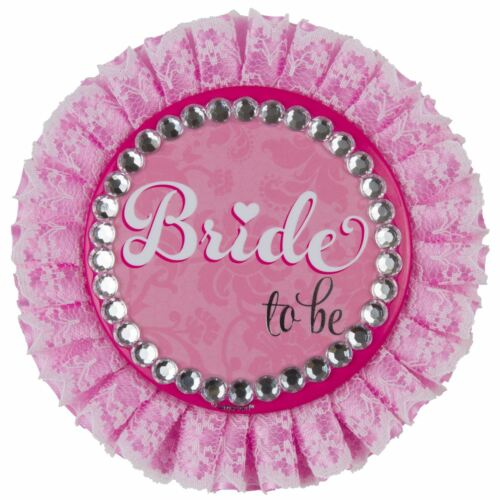 Bride to Be Badge Hen Do Girls Night Out Party Accessory Diamante Lace Pink Pin
