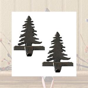 Christmas-Tree-Stocking-Holders-Hangers-Black-Heavy-Cast-Iron-Set-of-2