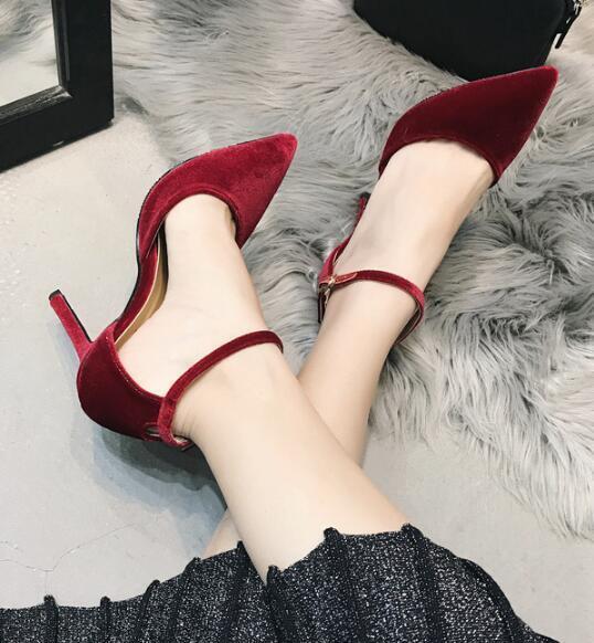 Womens gold Velvet Ankle Strap Pointed Toe High Slim Heels Stilettos shoes G990