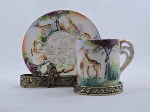 Vintage-Demitasse-Cup-amp-Saucer-034-OK-034-Japan-Embossed-Deer-Giraffe-Hand-Painted