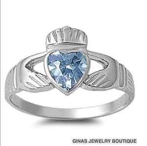 AQUAMARINE MARCH BIRTHSTONE CLADDAGH RING,CELTIC LOVE 925 Sterling Silver~NEW ~