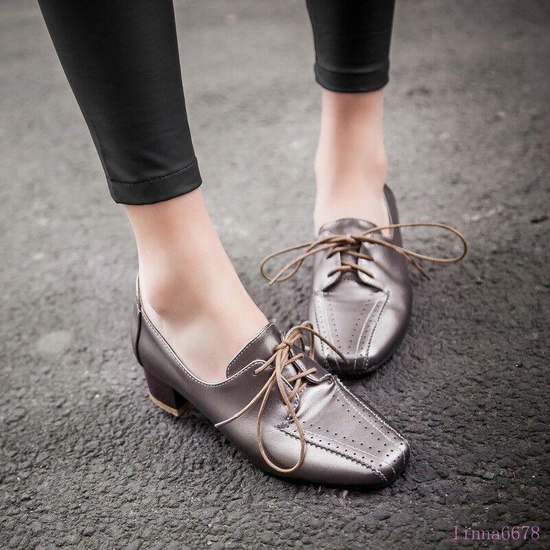 Women's Square Toe Pumps Low Block Heel Shoes Pumps Lace Up Brogue Collegiate