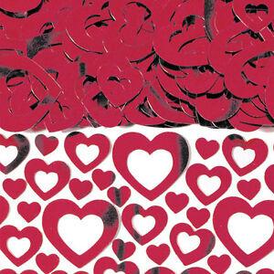 Rojo-Rubi-Brillante-Corazon-Confeti-de-Mesa-40th-Aniversario-Decoracion
