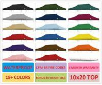 Ez Pop Up Canopy Replacement Top For 10 X 20 Caravan Canopy Tent 100% Waterproof