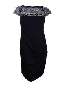 MSK-Women-039-s-Plus-Size-Beaded-Illusion-Dress