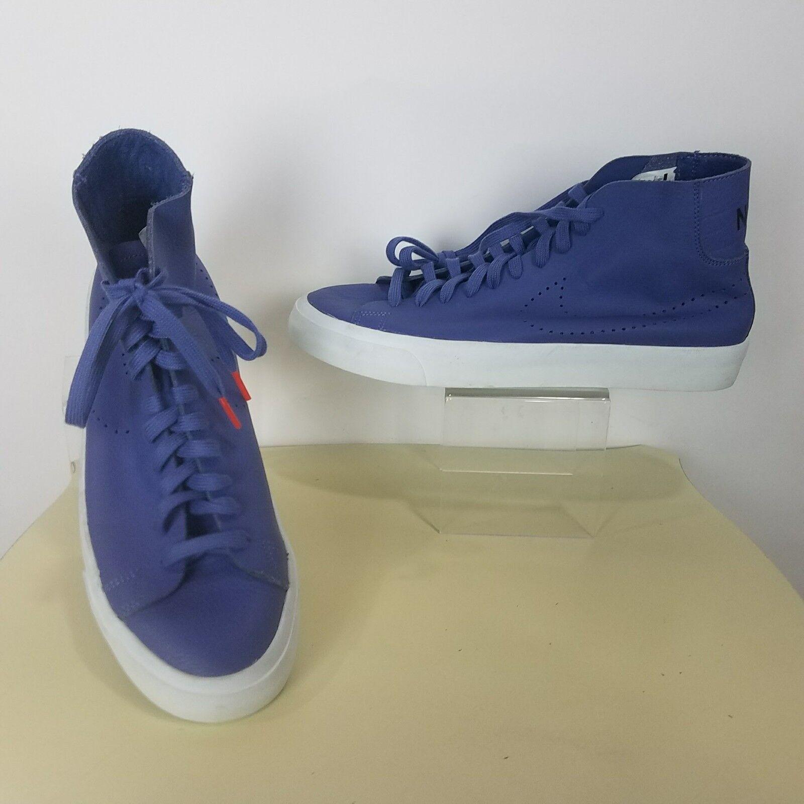 Nike Mens 11 Blazer Studio Italian Leather Blue Moon 880870-400 Skater Hi-Top