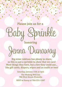 baby sprinkle invitation girl pink gold baby shower sprinkle