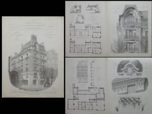 Alerte Paris, 60 Avenue Kleber - Gravures Architecture 1910 - Charles Letrosne Une Gamme ComplèTe De SpéCifications