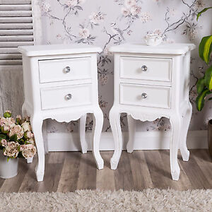 Image Is Loading Pair Of White Bedside Tables Shabby Vintage Chic