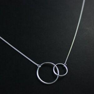 GENUINE-925-Sterling-Silver-Interlocking-Linked-Circle-Fine-Necklace-UK-New